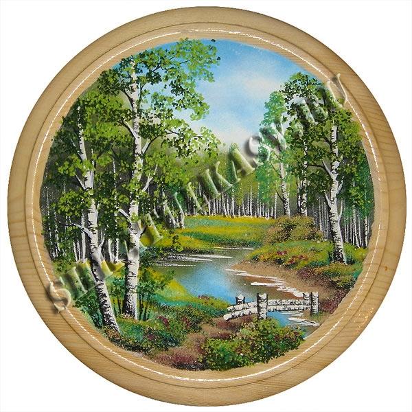 Панно на круге из дерева 50 см