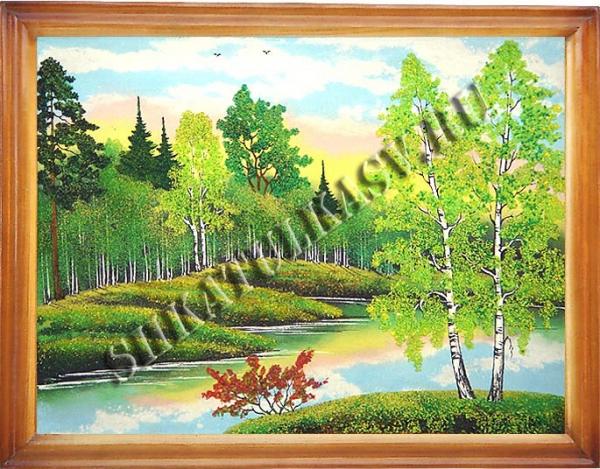 Панно в деревянном багете 24х34 см №3