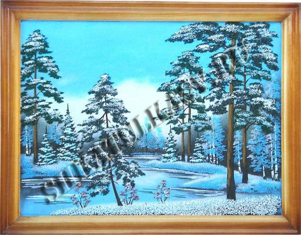 Панно в деревянном багете 34х44 см №4